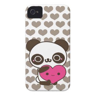 Panda Love Pink Gray Hearts iPhone 4 Case