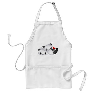 Panda lovers with heart standard apron