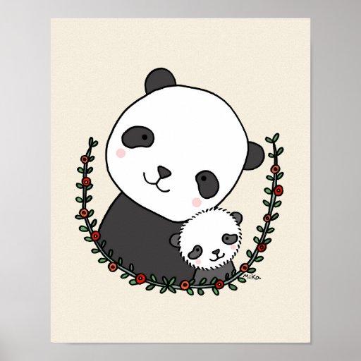 Panda Mom Baby Poster Panda Nursery Art Panda Art