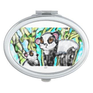 Panda mother and cub mirror for makeup