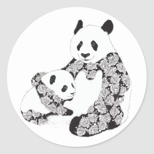 Panda Mother & Baby Cub Illustration Round Stickers