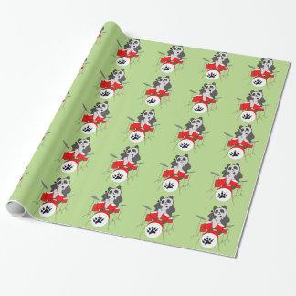 panda musician wrapping paper