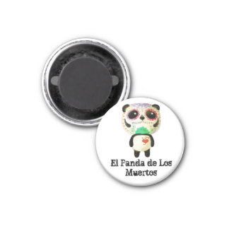 Panda of The Day of The Dead 1 Inch Round Magnet