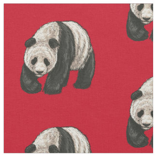 Panda on Bright Red Background Fabric