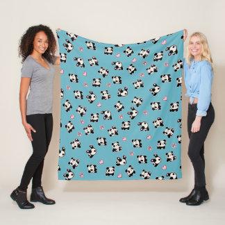 Panda pattern fleece blanket