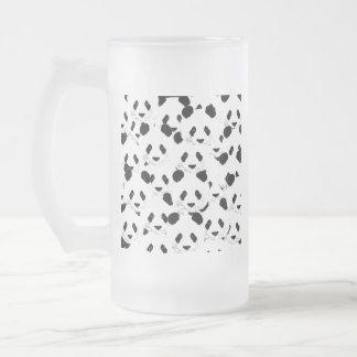 Panda pattern frosted glass beer mug