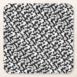 Panda pattern square paper coaster