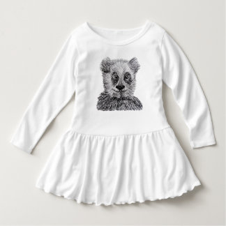Panda Pencil Drawing Toddler Ruffle Dress, White Dress