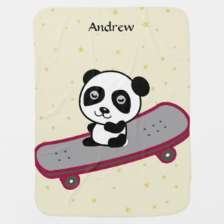 Panda riding on skateboard baby blanket
