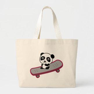 Panda riding on skateboard large tote bag