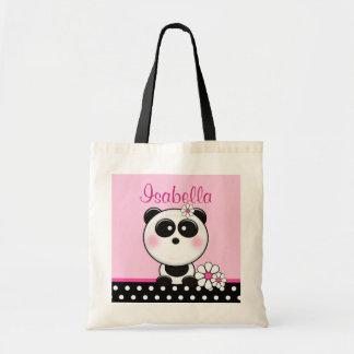 Panda rose personnalisé sac en toile budget