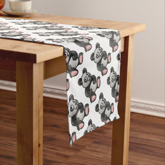 Panda Safari Animals Cartoon Character Short Table Runner