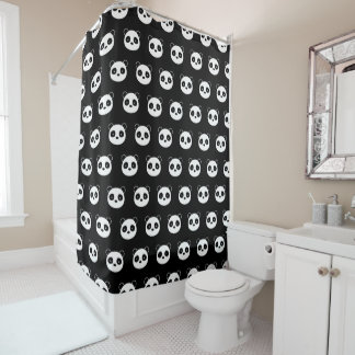 Panda shower curtain, black and white bathroom