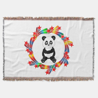 Panda Stars Throw Blanket