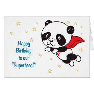 Panda Superhero Birthday Card