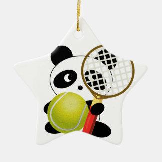 Panda tennis ceramic ornament