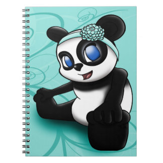 Panda Turquoise Floral Notebook