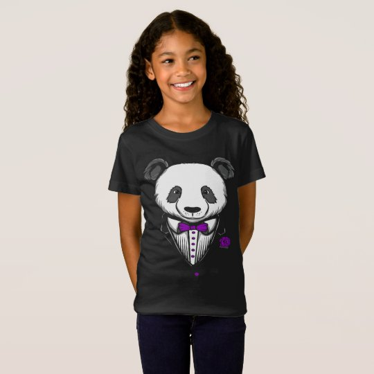 Panda Tuxedo T-Shirt With Purple Bow Tie