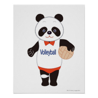 Panda Volleyball Player Poster