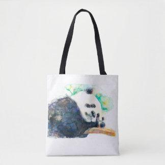 Panda watercolor tote bag