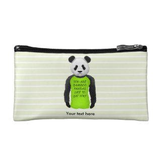 Panda Wearing A Funny Foodie T-shirt Cosmetic Bags