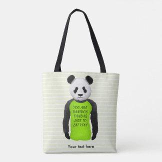 Panda Wearing A Funny T-shirt Tote Bag