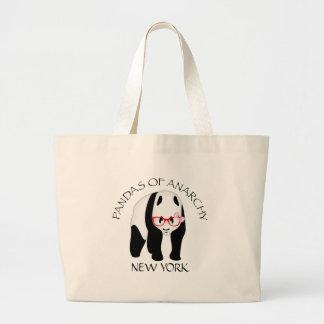 Panda wearing glasses Anarchy Large Tote Bag
