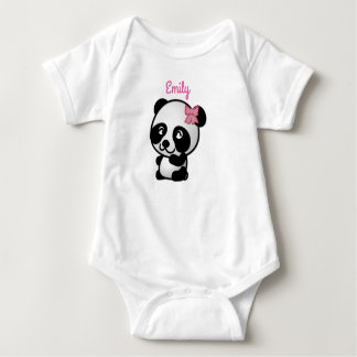 Panda with a Pink Bow Baby Onesy Baby Bodysuit
