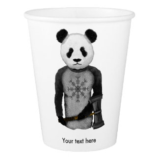 Panda With A Viking War Hammer Paper Cup