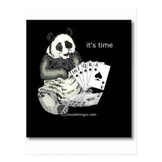 panda with aces design postcard