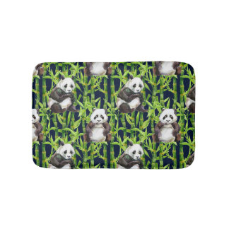 Panda With Bamboo Watercolor Pattern Bathroom Mat