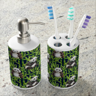 Panda With Bamboo Watercolor Pattern Bathroom Set