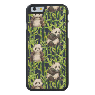 Panda With Bamboo Watercolor Pattern Carved® Maple iPhone 6 Slim Case
