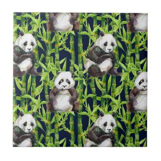 Panda With Bamboo Watercolor Pattern Ceramic Tiles