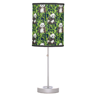Panda With Bamboo Watercolor Pattern Desk Lamps