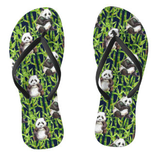 Panda With Bamboo Watercolor Pattern Flip Flops