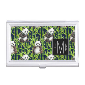 Panda With Bamboo Watercolor Pattern | Monogram Business Card Cases
