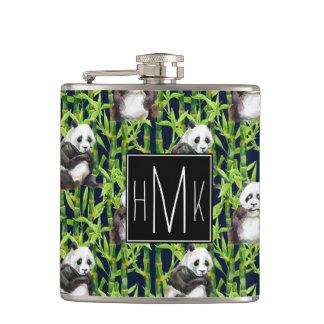 Panda With Bamboo Watercolor Pattern | Monogram Hip Flask