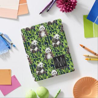 Panda With Bamboo Watercolor Pattern | Monogram iPad Cover