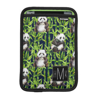 Panda With Bamboo Watercolor Pattern | Monogram iPad Mini Sleeve