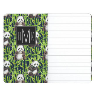 Panda With Bamboo Watercolor Pattern | Monogram Journals