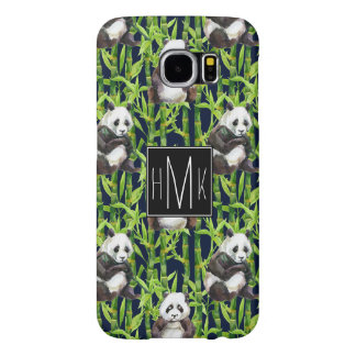 Panda With Bamboo Watercolor Pattern   Monogram Samsung Galaxy S6 Cases