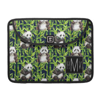 Panda With Bamboo Watercolor Pattern | Monogram Sleeves For MacBook Pro