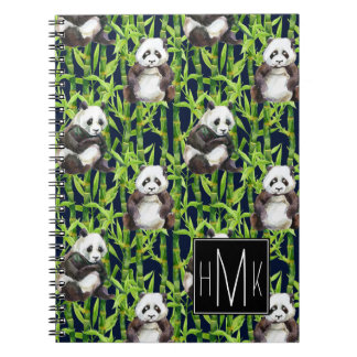 Panda With Bamboo Watercolor Pattern | Monogram Spiral Note Books