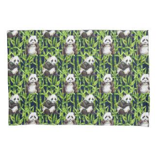Panda With Bamboo Watercolor Pattern Pillowcase