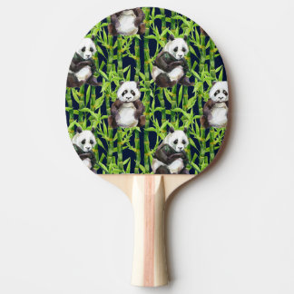 Panda With Bamboo Watercolor Pattern Ping Pong Paddle