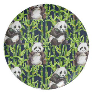 Panda With Bamboo Watercolor Pattern Plates