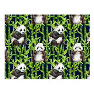 Panda With Bamboo Watercolor Pattern Postcard