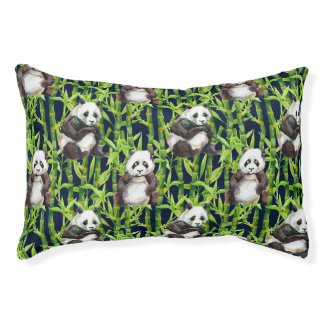 Panda With Bamboo Watercolor Pattern Small Dog Bed