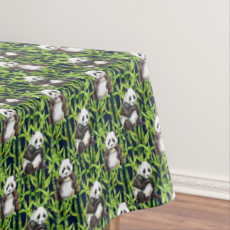 Panda With Bamboo Watercolor Pattern Tablecloth